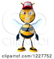 Clipart Of A 3d Happy Bee Wearing A Baseball Cap Royalty Free Illustration
