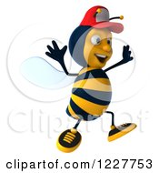 Clipart Of A 3d Jumping Bee Wearing A Baseball Cap Royalty Free Illustration