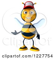 Clipart Of A 3d Presenting Bee Wearing A Baseball Cap Royalty Free Illustration