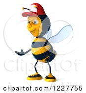 Clipart Of A 3d Presenting Bee Wearing A Baseball Cap 2 Royalty Free Illustration