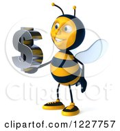 Clipart Of A 3d Bee Holding A Dollar Symbol 4 Royalty Free Illustration