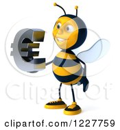 Clipart Of A 3d Bee Holding A Euro Symbol 4 Royalty Free Illustration