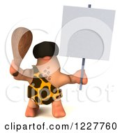3d George Caveman Holding A Sign