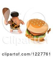 3d George Caveman Chasing A Cheeseburger 2