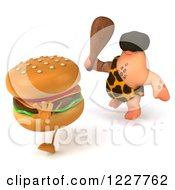 Clipart Of A 3d George Caveman Chasing A Cheeseburger Royalty Free Illustration by Julos