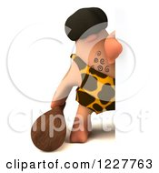 Clipart Of A 3d George Caveman Looking Around A Sign Royalty Free Illustration by Julos
