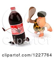 Clipart Of A 3d George Caveman Chasing A Soda Royalty Free Illustration by Julos