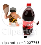 Clipart Of A 3d George Caveman Chasing A Soda 2 Royalty Free Illustration by Julos