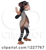 Clipart Of A 3d Chimpanzee Wearing Glasses And Waving 2 Royalty Free Illustration