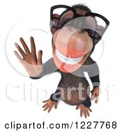 Clipart Of A 3d Chimpanzee Wearing Glasses And Waving 3 Royalty Free Illustration