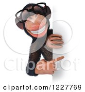 Clipart Of A 3d Chimpanzee Wearing Glasses And Looking Around A Sign Royalty Free Illustration