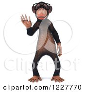Clipart Of A 3d Chimpanzee Wearing Glasses And Waving Royalty Free Illustration