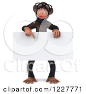 Clipart Of A 3d Chimpanzee Wearing Glasses And Holding A Sign Royalty Free Illustration