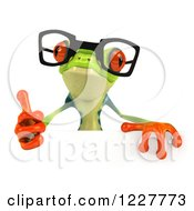 Clipart Of A 3d Bespectacled Argie Frog Holding A Thumb Up Over A Sign Royalty Free Illustration