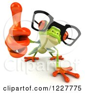 Clipart Of A 3d Bespectacled Argie Frog Holding A Thumb Up Royalty Free Illustration