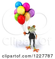 Clipart Of A 3d Business Springer Frog With Colorful Party Balloons 4 Royalty Free Illustration