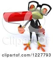 Clipart Of A 3d Business Springer Frog Painting Royalty Free Illustration