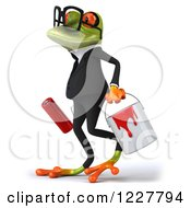 Clipart Of A 3d Business Springer Frog Walking With Paint Royalty Free Illustration