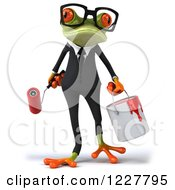 Clipart Of A 3d Business Springer Frog With Paint Royalty Free Illustration