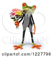 Clipart Of A 3d Business Springer Frog Holding Flowers Royalty Free Illustration