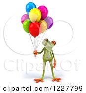 Clipart Of A 3d Springer Frog With Colorful Balloons 4 Royalty Free Illustration