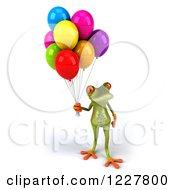 Clipart Of A 3d Springer Frog With Colorful Balloons 5 Royalty Free Illustration