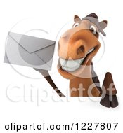 Clipart Of A 3d Happy Horse Holding An Envelope Over A Sign Royalty Free Illustration