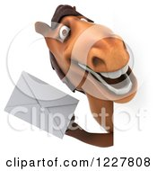 Clipart Of A 3d Happy Horse Holding An Envelope Around A Sign Royalty Free Illustration