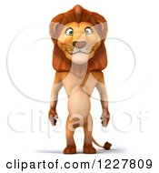Clipart Of A 3d Lion Standing Upright Royalty Free Illustration