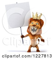 Clipart Of A 3d Lion King Holding A Sign And Roaring Royalty Free Illustration