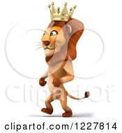 Clipart Of A 3d Lion King Walking 2 Royalty Free Illustration