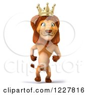 Clipart Of A 3d Lion King Walking Royalty Free Illustration