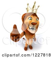Clipart Of A 3d Lion King Holding A Thumb Up Royalty Free Illustration