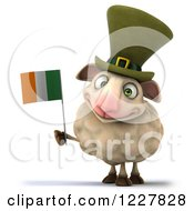 Clipart Of A 3d Happy Irish Sheep Holding A Flag Royalty Free Illustration