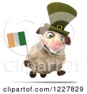 Clipart Of A 3d Happy Irish Sheep Running With A Flag Royalty Free Illustration