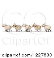 Clipart Of 3d Happy Sheep Walking In A Line Royalty Free Illustration