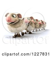 Clipart Of 3d Happy Sheep Walking In A Line 2 Royalty Free Illustration
