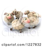 Clipart Of 3d Happy Sheep Playing In A Circle Royalty Free Illustration