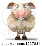 Clipart Of A 3d Happy Sheep Royalty Free Illustration