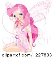 Clipart Of A Beautiful Pink Fairy Woman Sitting Royalty Free Vector Illustration