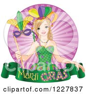 Clipart Of A Happy Mardi Gras Girl With A Mask Over A Banner And Rays Royalty Free Vector Illustration by Pushkin