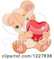 Clipart Of A Cute Valentine Teddy Bear Holding A Red Heart Royalty Free Vector Illustration