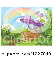 Rainbow Over Mushrooms Ferns And A Log In A Fantasy Forest