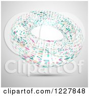 Clipart Of A Floating Abstract Colorful Ring Over Gray Royalty Free Vector Illustration