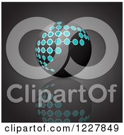 Clipart Of A 3d Black Technology Sphere With Network Connections On Gray Royalty Free Vector Illustration