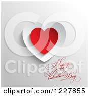 Happy Valentines Day Greeting With Red And White Paper Hearts