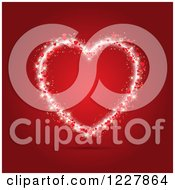 Clipart Of A Sparkly Valentine Heart Over Red Royalty Free Vector Illustration by KJ Pargeter