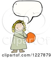 Clipart Of A Talking Girl With A Ball Royalty Free Vector Illustration by lineartestpilot