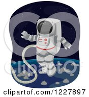 Clipart Of An Astronaut Performing A Space Walk Royalty Free Vector Illustration