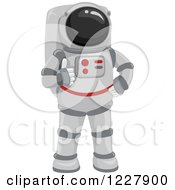 Clipart Of An Astronaut Holding A Thumb Up Royalty Free Vector Illustration